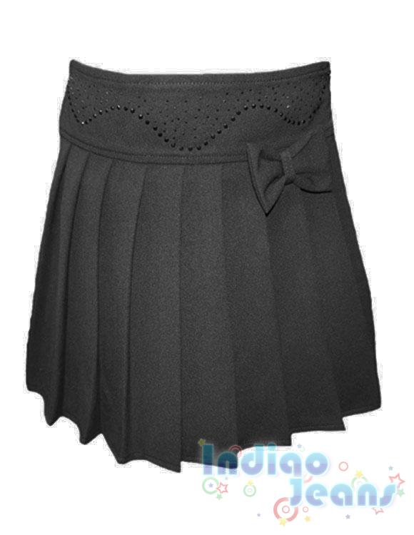Школьная юбка в складку с отделкой из страз, арт.  Q11005.