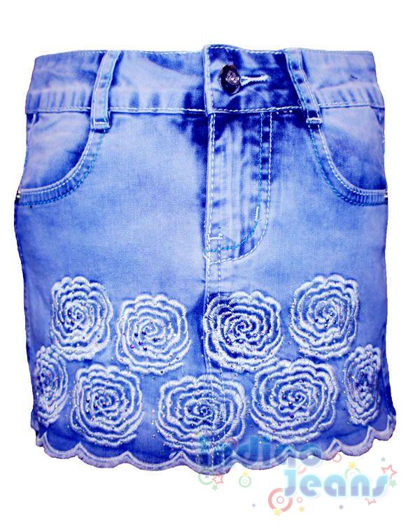 Джинсовая юбка с модной вышивкой, арт.  I9695.