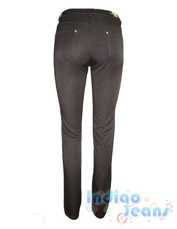 Модные черные брюки для школы, ткань-габардин, арт.  Е12972.